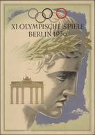 """Thematik: Olympische Spiele / Olympic Games: 1936, German Reich. Ornamental Telegram """"XI. Olympische - Olympische Spiele"""