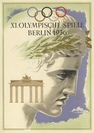 """Thematik: Olympische Spiele / Olympic Games: 1936, BERLIN, Schmuckblatt-Telegramm C 187 LX 13 """"XI.OL - Olympische Spiele"""
