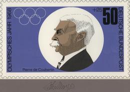 Thematik: Olympische Spiele / Olympic Games: 1968, Bund, Nicht Angenommener Künstlerentwurf (26,5x16 - Olympische Spiele