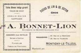 Montigny Le Tilleul  Vve A Bonnet Lion Carte De Visite  Tissus En Gros - Belgium