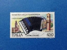 1989 ITALIA LAVORO INDUSTRIA DELLA FISARMONICA CASTELFIDARDO FRANCOBOLLO USATO ITALY STAMP USED - 6. 1946-.. Repubblica