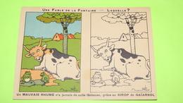 RARE Image Récompense D'école - FABLE DE LA FONTAINE - Benjamin Rabier - Dépliant Coloriage - PUB / 194 - Vecchi Documenti
