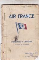 AVIATION / AIR FRANCE INDICATEUR GENERAL FRANCE ET COLONIES 1936 - Transportmiddelen