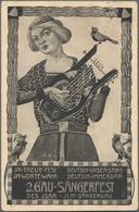 "Thematik: Tiere-Vögel / Animals-birds: 1914, Bavaria. Private Postcard 5p Hupp ""Zweites Gau-Sängerfe - Vögel"