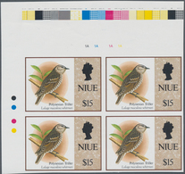 Thematik: Tiere-Vögel / Animals-birds: 1993, NIUE: Birds Issue $15 Polynesian Triller In An IMPERFOR - Vögel