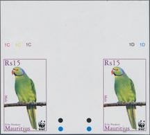 Thematik: Tiere-Vögel / Animals-birds: 2003, MAURITIUS: WWF 'Echo Parakeet' 1r. And 15r. In Horizont - Vögel
