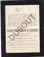 Doodsbrief Corneille-F ULLENS De SCHOOTEN °1804 Anvers †1886 Château De Withof - Bourgmestre Schoten- S. De KNYFF (H209) - Overlijden