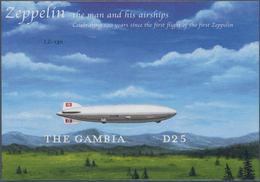 """Thematik: Zeppelin / Zeppelin: 2000, The Gambia. IMPERFORATE Souvenir Sheet For The Issue """"100 Years - Zeppeline"""