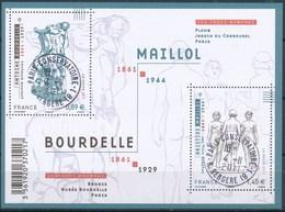 France - Sculptures De Bourdelle Et Maillol / Le Feuillet YT F4626 Obl. Cachet Rond Manuel - Blocs & Feuillets