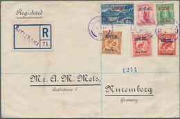"Aitutaki: 1914, Six Surcharges, Nearly Cpl. Set Tied ""AITUTAKI JA 21 14"" To Registered Cover Via ""CO - Aitutaki"