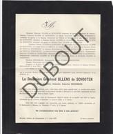Doodsbrief  Marie BEECKMANS °1852 Anvers †1923 Merksem Godefroid ULLENS De SCHOOTEN (H208) - Overlijden