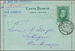 Brasilien - Ganzsachen: 1884, Two Letter Cards 200 R Green On Greenish In Different Types (frame Per - Postwaardestukken