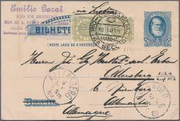 Brasilien - Ganzsachen: 1867, Stationery Envelope 200 R Black Uprated 2x 100 R Rose-violett Sent Reg - Postwaardestukken