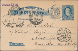 Brasilien - Ganzsachen: 1890, Card 40r. Blue Uprated By 50r. Commercially Used With Full Message, Wr - Postwaardestukken