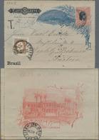 "Brasilien - Ganzsachen: 1894, Letter Card 100 R Red/black Sent Via ""RIO DE JANEIRO 8 DEZ 96"" To Tepl - Postwaardestukken"