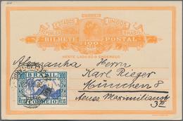 Brasilien - Ganzsachen: 1931, Two Letter Cards 100 R Orange On Buff, Both Different Uprated And Sent - Postwaardestukken