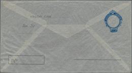 Brasilien - Ganzsachen: 1948, Rare Registered Stationery Envelope 1,00 CRS Blue On Transparent Glass - Postwaardestukken