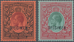 Britisch-Ostafrika Und Uganda: 1912/1921, Definitives KGV, 100r. Purple And Black/red And 500r. Gree - Protectorados De África Oriental Y Uganda