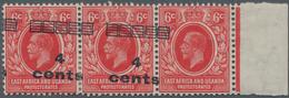 "Britisch-Ostafrika Und Uganda: 1921 4c. On 6c. Scarlet, Right-hand Marginal Stip Of Three, Variety "" - Protettorati De Africa Orientale E Uganda"