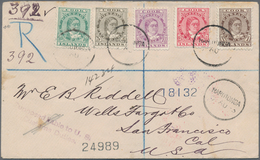 Cook-Inseln: 1893 'Queen Makea Takau' 1d. Brown, 1½d., 2½d., 5d. And 10d. Used On Registered Cover F - Cookinseln