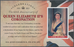 Cook-Inseln: 2013, 60th Anniversary Of Coronation Of QEII Complete IMPERFORATE Set Of Five And The I - Cookinseln