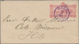 Hawaii - Ganzsachen: 1892 Postal Stationery Envelope 2c. (View Of Honolulu Harbor), Used In Hilo Loc - Hawaii