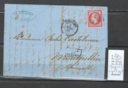 France -  Lettre - Yvert 17a - Napoléon 80 Centimes - Bordeaux - Gironde - Postmark Collection (Covers)