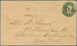 """Nicaragua: 1854, US 6.c Green Postal Stationery Envelope Tied By Doubleline """"STEAM / SHIP"""" And """"VIA - Nicaragua"""