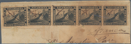 Nicaragua: 1862 5c. Black, Strip Of Three And Two Singles Used On Small Piece Of Cover, All Cancelle - Nicaragua