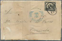 Nicaragua: 1881, 5c. Black 1869-71 Issue On White Paper, Perf. 12, On Thin Paper Folded Envelope Tie - Nicaragua