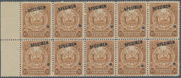 Nicaragua: 1905, Coat Of Arms 10c. Pale Brown (American Bank Note Co.) Block Of Ten From Left Margin - Nicaragua