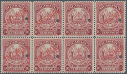 Nicaragua: 1909, Coat Of Arms 10c. Lilac-carmine (American Bank Note Co.) Block Of Eight All With Pu - Nicaragua