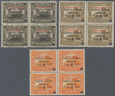 Nicaragua: 1933, Definitives Three Different Stamps 6 On 10c. Dark Brown, 8 On 15c. Olive Brown And - Nicaragua