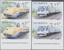 Nicaragua: 2000, Locomotives Of The World Complete Set Of Four In Vertical IMPERFORATE Pairs From Lo - Nicaragua