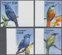 Nicaragua: 2000, Birds Of America Complete IMPERFORATE Set Of Four From Left Or Right Margins, Mint - Nicaragua
