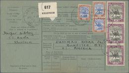 Sudan: 1911/1921, 3 X 15 M Blue/chestnut And 3 X 10 Pia Black/mauve, Mixed Franking On Parcel Card F - Sudan (1954-...)