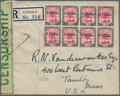 Sudan: 1940, Registered Cover Franked With Block Of 8x5 Mills. On 10 Millièmes Camel Rider Red/black - Sudan (1954-...)