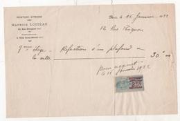 FACTURE PEINTURE VITRERIE MAURICE LOISEAU RUE PERIGNON PARIS VIIe - 1922 - TIMBRE FISCAL - Artesanos