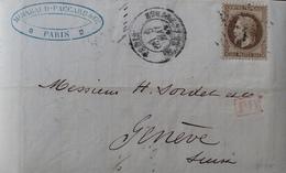 DF40266/1111 - NAPOLEON III Lauré - N°30 Sur ✉️ (LAC) PARIS PLACE DE LA BOURSE 5 MAI 1869 à GENEVE (SUISSE) - 1863-1870 Napoléon III Lauré
