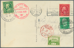 Zeppelinpost Übersee: 1929, World Trip, Round Trip Card (Zeppelin Ppc) With 3country Franking USA/Ge - Zeppeline