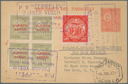 Zeppelinpost Übersee: 1930. Rare Card From Paraguay, With Provisional Zeppelin Cancels For The Südam - Zeppeline