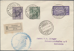 Zeppelinpost Übersee: 1933, Trip To Italy, Tripolitania Airmail 5l. Violet In Combination With Libya - Zeppeline