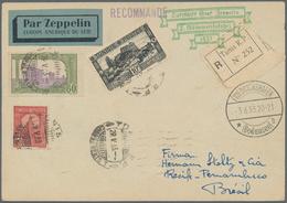 Zeppelinpost Übersee: 1933. Registered Tunisie / Tunis Postcard Routed Through Marseille And Paris T - Zeppeline