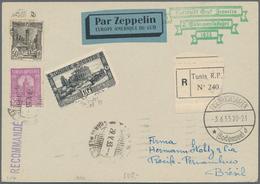 Zeppelinpost Übersee: 1933, TUNESIA, 2. Southamerica Flight With 'Graf Zeppelin', Tunisian Post 30 A - Zeppeline