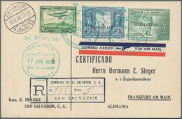 Zeppelinpost Übersee: 1936. Registered El Salvador Card Flown On The German Hindenburg Zeppelin Airs - Zeppeline