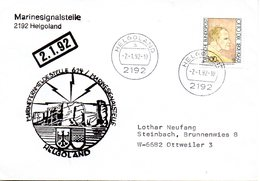 "(FC-3) BRD Cachet-Umschlag Bundesmarine ""MARINEFERNMELDESTELLE 614...HELGOLAND"" EF BRD Mi 1573 TSt 2.1.1992 HELGOLAND - [7] République Fédérale"