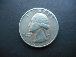 United States ¼ Dollar 1951 Washington Silver Quarter - Federal Issues