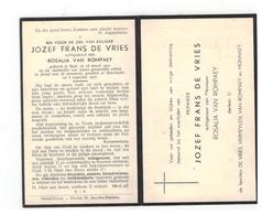 DP JOZEF FRANS DE VRIES Geb. Baal 1931,gevallen Tgv Mijnramp V Marcinelle 1956,echtg.v ROSALIA VAN ROMPAEY - Godsdienst & Esoterisme