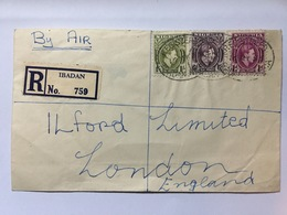 JAMAICA George VI 1953 Air Mail Registered Ibadan Cover To England - Jamaica (...-1961)