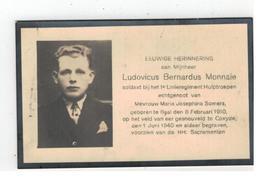 DP Ludovicus Bernardus Monnaie Geb. Baal 1910,soldaat Gesneuveld Te Coxyde 1940 ,echtg.v Maria Joseph.Somers - Godsdienst & Esoterisme
